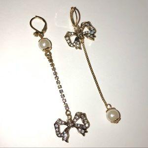 NWOT Betsey Johnson Pearl Crystal Drop Earrings